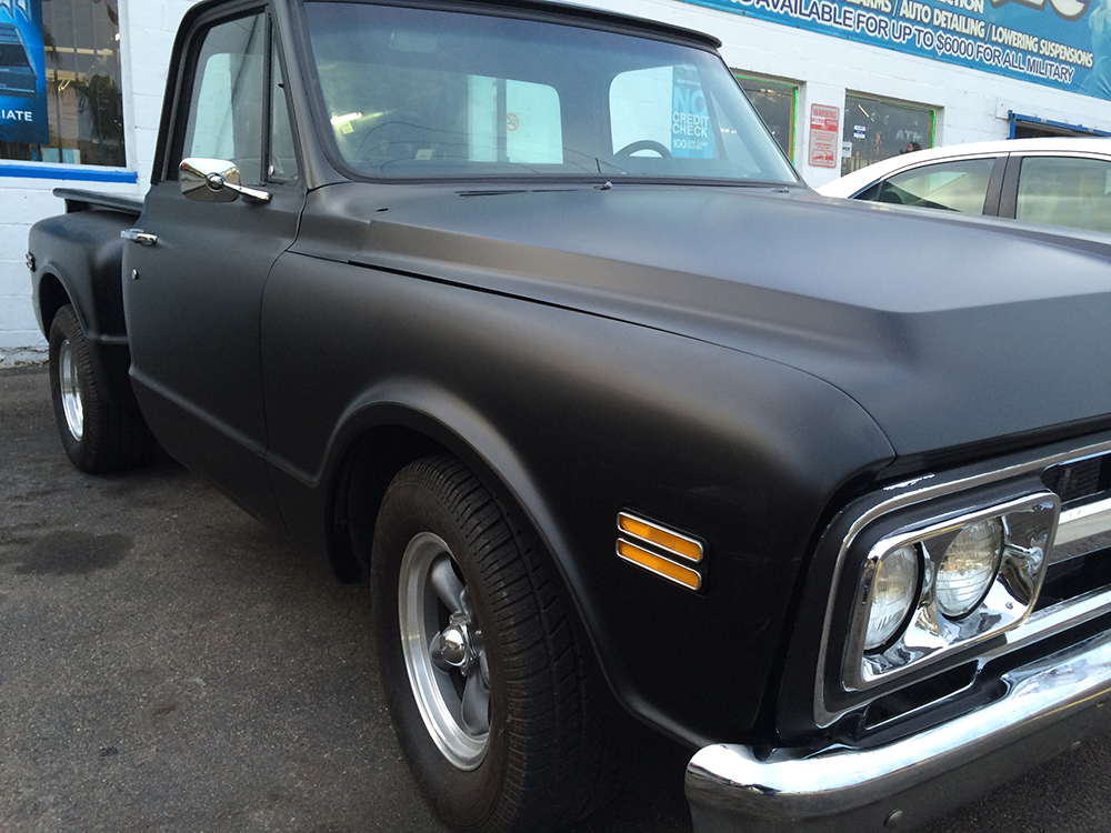 classic chevy truck with flat black paint joe 39 s stereo. Black Bedroom Furniture Sets. Home Design Ideas